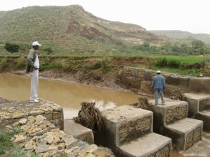This check dam prevents erosion and enables farmers to irrigate in the dry season